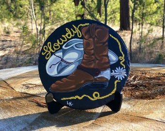 "Hand painted coaster ,""Howdy"" original art,home decor, art collection, slate rock."