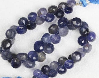 8 inch long strand faceted fancy Iolite briolette beads  5 x 6 -- 8 x 8 mm approx