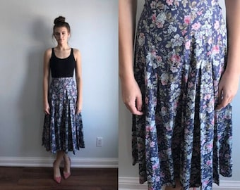 Vintage Laura Ashley Floral Skirt, Laura Ashley, 1980s Skirt, Country Chic Skirt, Cottage Chic, Blue Floral Skirt, Vintage Skirt