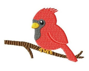 Embroidery Design Cardinal on branch 4'x4' - DIGITAL DOWNLOAD PRODUCT