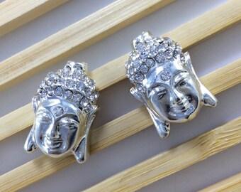 10pcs rhinestone silver plated buddha beads buddha bracelet buddha necklace yoga bracelet C506 )