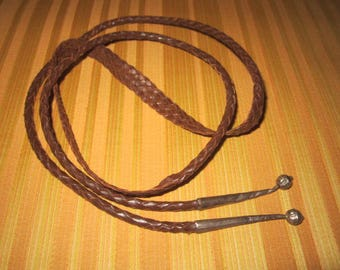 Vintage Braided Brown Leather Hat Band Trim with Silver Metal Tips