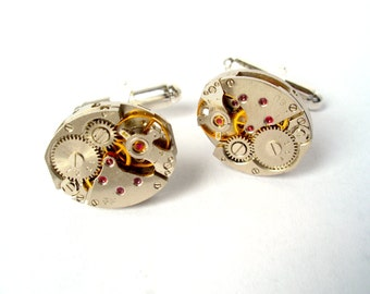 Valentines Day Gift Watch Movement Cufflinks with Rubies - silver plated - Clock Cufflinks, Watch Cufflinks, Steam Punk Cufflinks