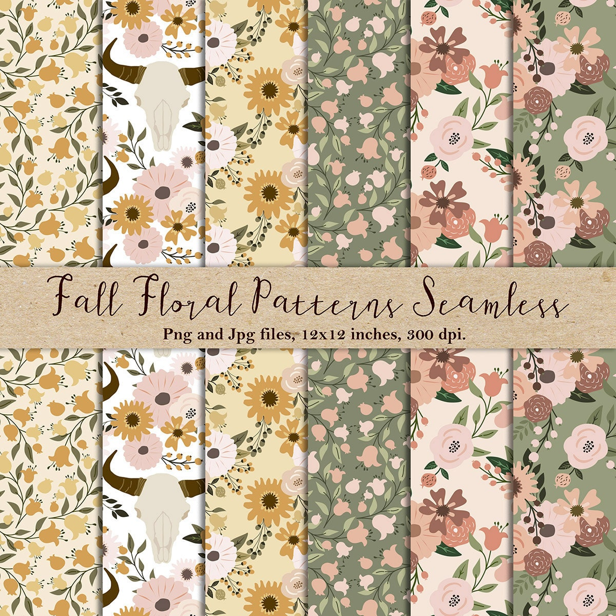 Fall Floral Seamless Patterns Floral Patterns Floral