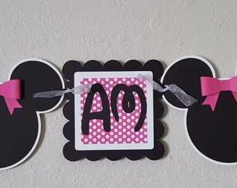 Minnie Mouse Age Banner, Minnie Mouse Banner, Minnie Mouse Decor, Minnie Mouse Party, Minnie Mouse Birthday, Minnie Mouse Highchair