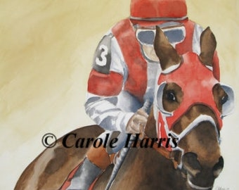 Horse and Jockey watercolor painting by Carole Harris