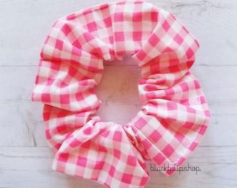 Pink Hair Scrunchie Retro Gingham Scrunchies Accessories Ponytail Holder Kawaii Sweet Hair Tie Retro 80s 90s Fairy Kei Harajuku Fashion
