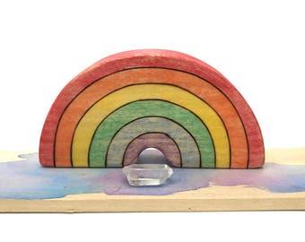rainbow waldorf toy, wooden rainbow, wooden waldorf toys, rainbow figurine, modern toys