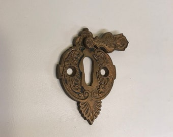 Brass Keyhole Escutcheon with Sliding Cover