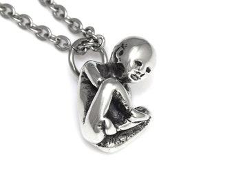 Tiny Human Fetus Charm Necklace, Baby Infant Pendant, Handmade Pewter