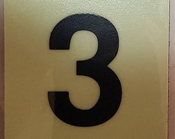 """Photoluminescent Door Identification Number 3 (Three) Sign / Glow In The Dark """"Door Number"""" Sign Heavy Duty (Aluminum Sign 1.5 X 1.5)"""