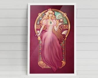 Princess Toadstool Nouveau signed Poster Art Print - 11x17