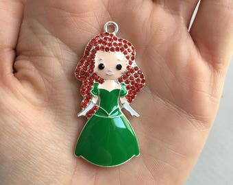 H39 Red Hair Princess Pendant for Chunky Necklaces