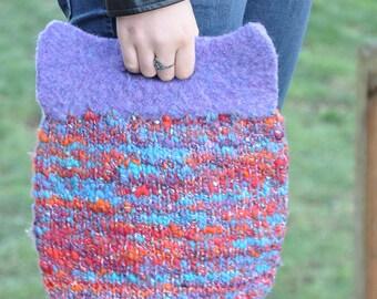 Enchantress Knit Felted bag~ Handknit, Handspun yarn, Purse Handbag