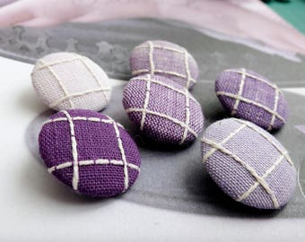 Chic Purple Lavender Colorway Neat Embroidery Check Gingham - Handmade Fabric Covered Buttons(0.87 Inch, 6PCS)