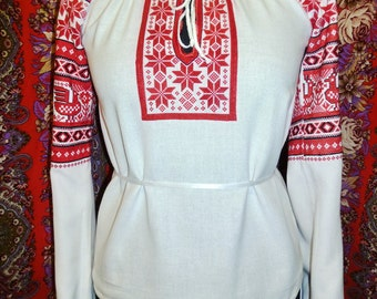 Russian woman blouse Sudarushka; slavic folk blouse; embroidery blouse; Medieval embroidery tunic