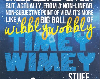 5x7 Print Art Doctor Who Ten Tenth David Tennant Wibbly Wobbly Timey Wimey Blink TARDIS Blue!