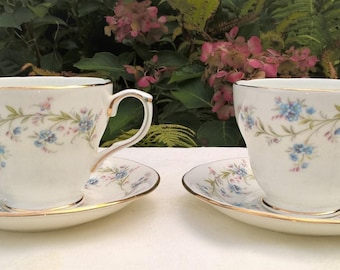 Set of two Duchess Fine bone China teacups and saucers