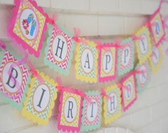 Luau banner-beach party, surf banner-birthday banner -flip flop banner-hawaiian banner-flip flops