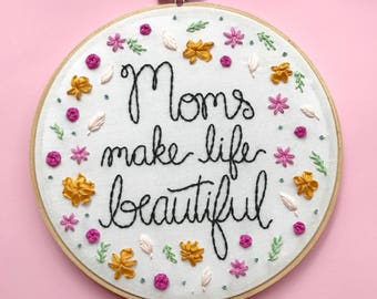 Floral Embroidery Hoop for Mom, Art for Mom, Embroidered Wall Art, Ribbon embroidery, Floral Wall Decor, Embroidery Hoop Art KimArt Designs