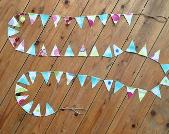 Bunting, Mini Bunting, Oil Cloth Bunting, Twine, Rustic, Hanging Decoration, Shabby Chic, Home Decor