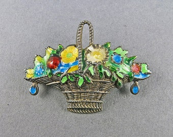 Antique 800 Silver Brooch Green Enamel Jewelry Antique Jewellery Antiqus Collectibles