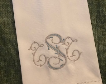 Monogrammed Huck Towels - Mother's Day - hostess gift - housewarming gift