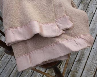 Vintage Antique Wool Blanket Throw Light Camel Cabin or Home Rustic Bedspread Great for crafts