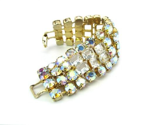 Wide Vintage Aurora Borealis Rhinestone Bracelet 1950s Fashion Jewelry