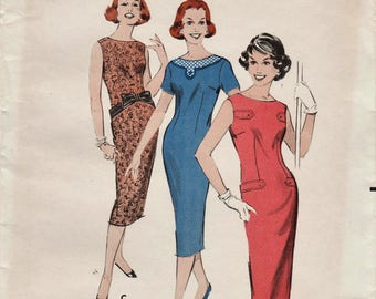 Butterick 8568 / Vintage 50s Sewing Pattern / Sheath Dress / Size 12 Bust 32