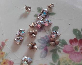 Vintage Swarovski brass Crystal half balls crystal ab 10