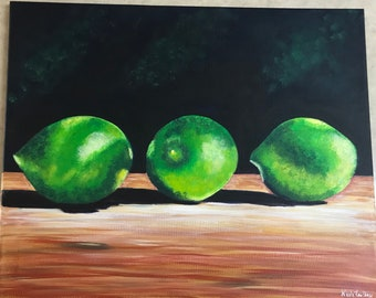 12 x 16 inch acrylic painting, limes