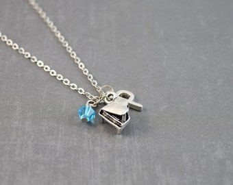 Piano Necklace - Piano Jewelry - Music Necklace - Personalized Necklace - Music Jewelry - Silver Initial Necklace - Music Personalized Gift