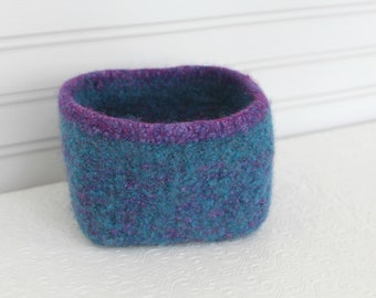 Wool Basket Turquoise Blue and Purple, Knit Felt Storage Basket, Boiled Wool Small Storage Basket, Soft Wool Storage Container, Square Bowl