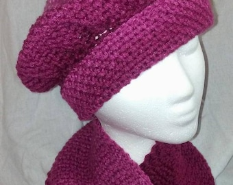 Rose and Pink Hat and Scarf