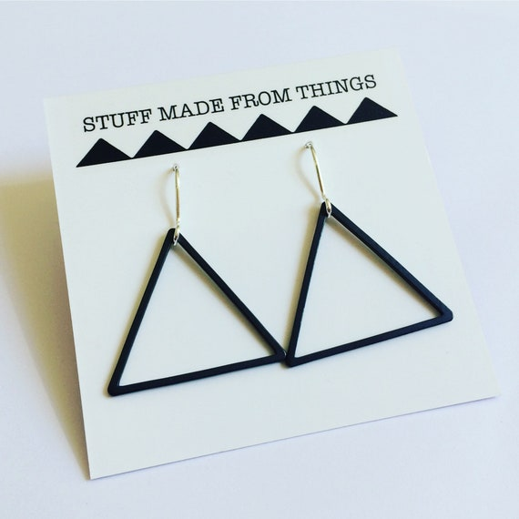 Black Triangle Earrings - Silver - Hoops - Geometric - Modern - Minimalist - Minimal - Drop -