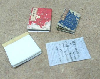 Japanese miniature dollhouse antique books set 3
