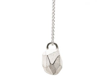 Pendant with necklace, faceted, 925 sterling silver: Rocky pendant White