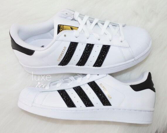 Xirius Cut Rose Black Superstar size Black White Adidas 7 SWAROVSKI® Crystals White with Original z8vZnaA