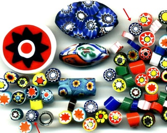 Moretti Murrina Mosaic Millefiori Chips, Vintage Venetian,  for making Millefiori Beads J1285*