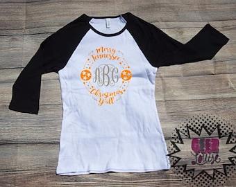 Tennessee Christmas Monogram T-shirt Adult Raglan Baseball Tee  Vinyl Unisex Cotton Football Orange Tri star XMas Holiday y'all