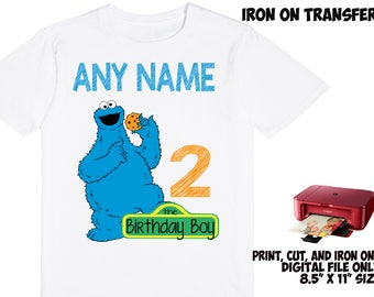 Monster Cookie Personalized Name and Age - Monster Cookie DIY Printable Iron On Transfer - Monster Cookie Printable Birthday Shirt Transfer