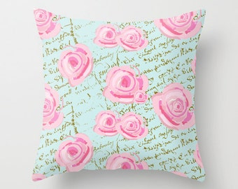 Outdoor Pillow Cover with Pillow Insert, Outdoor Pillow Cover, Watercolor Cabbage Roses on French Script