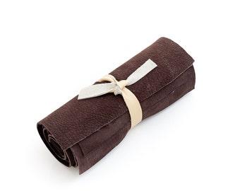 Genuine nubuck Italian cowhide leather scrap, dark brown