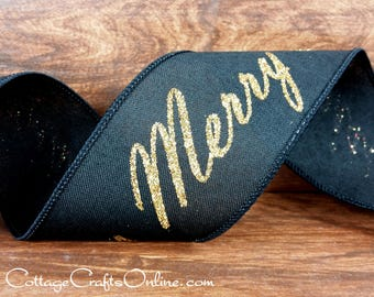 "Christmas Wired Ribbon 2 1/2"", Merry Christmas Script - TEN YARD ROLL - Black with Gold Glitter ""Merry Black"" Wire Edged Ribbon"