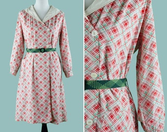 1920s Colorful Cotton Smock Jacket - 20s Cotton Jacket With White Collar - Shell Button Front - Long Sleeves