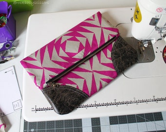 Design Your Own Custom Made Fold Over Clutch with leather or vinyl accents