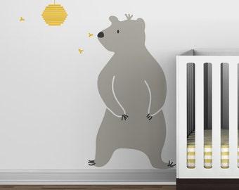 Baby Zoo Bear and Hive Wall Decal - Boys room - Modern Baby Decor