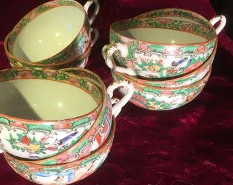 antique rose medallion teacups (set of 8)