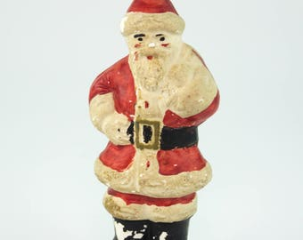 "Vintage Mid-Century Santa Claus Hand-Painted Figurine / Statue (About 8"")"